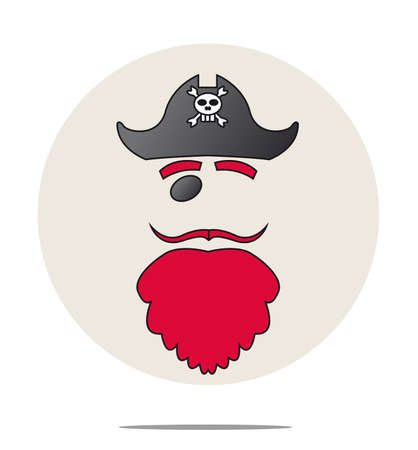 red beard: Illustration of a pirate with red beard