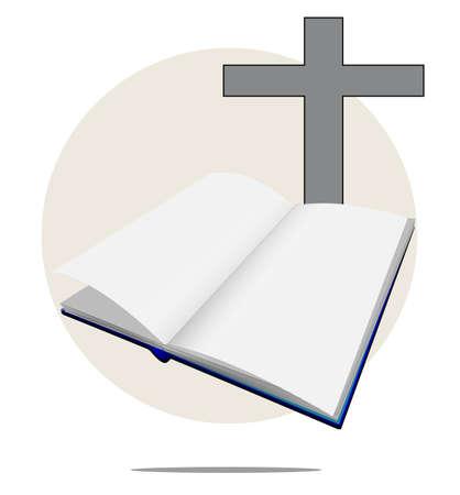 Illustratie van witte Bijbel met kruis Stock Illustratie