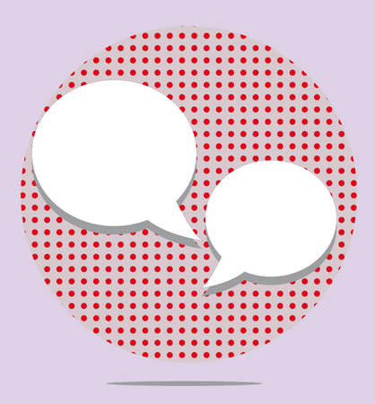 red balloons: Two text balloons in red spotted round on pink background Illustration