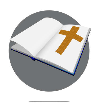 baptist: Illustration of bible with cross in green circle background Illustration