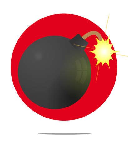 timebomb: Illustration of a bomb with red circle background