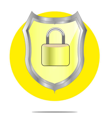 honour guard: Illustration of a yellow shield with lock with yellow circle background