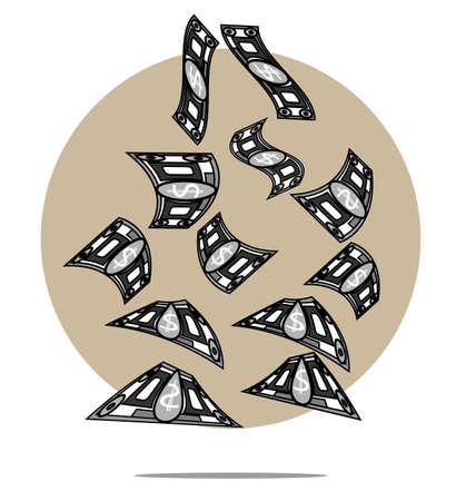 falling money: Illustration of falling money with circle background Illustration