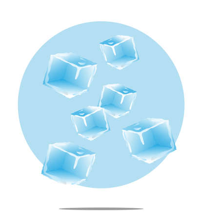 falling cubes: Illustration of falling ice cubes with light blue background