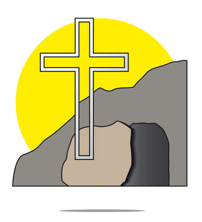 easter cross: Illustration of easter cross with grave