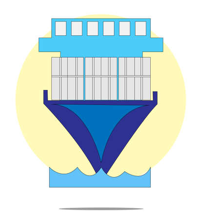 containership: Illustration of containership with yellow circle background