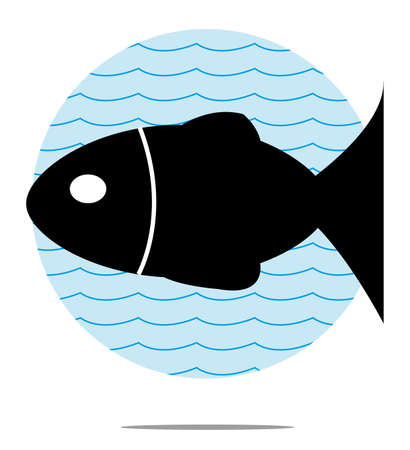 black fish: Illustration of black fish with blue wave background