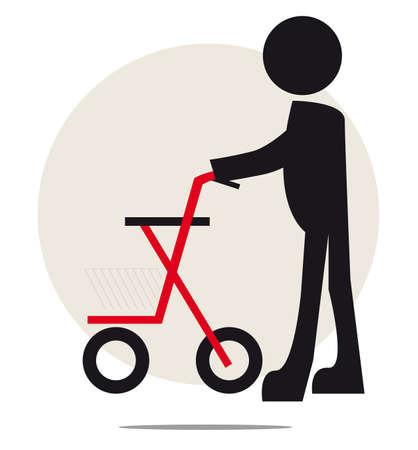 retired: Illustration of senior with walker on circle background Illustration