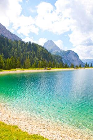 picknick: View at Ehrwalder Almsee with mountain landscape, Tirol, Austria Stock Photo