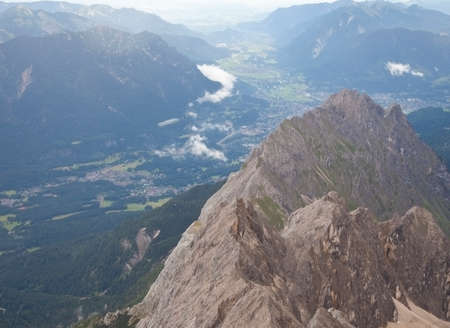 zugspitze mountain: View from mountain Zugspitze, Tirol at village of Ehrwald, Austria