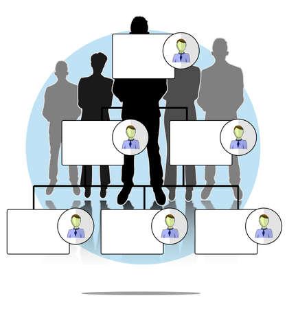 Ilustración de organigrama con el grupo de personas de negocios
