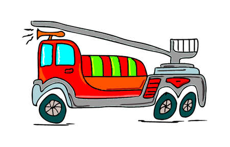 emergency engine: illustration of a fire truck on white background