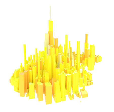 3d rendered yellow skyline isolated on white background