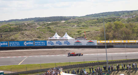 formula one: ZANDVOORT, THE NETHERLANDS - May 21, 2017: Formula One racer Max Verstappen shows his skills with track record on circuit Zandvoort, The Netherlands