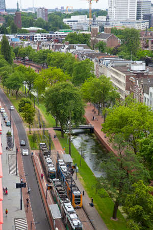 ROTTERDAM, THE NETHERLANDS - June 11, 2017: View at tramline in street of Rotterdam, The Netherlands