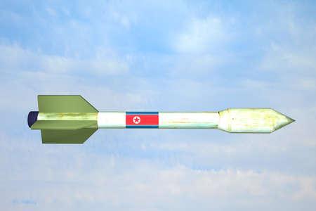 北朝鮮の国旗とミサイルの 3 d レンダリング