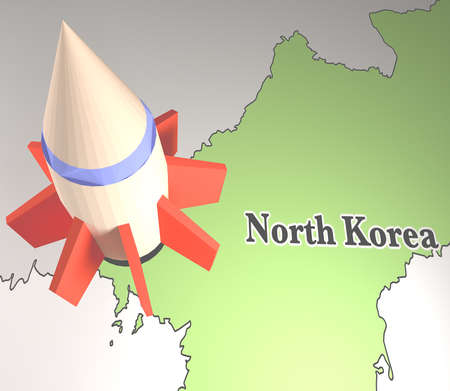 北朝鮮の地図とミサイルの 3 d レンダリング