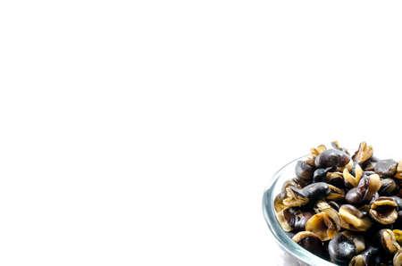 fava bean: Half of fava bean, roasted and salty background Stock Photo