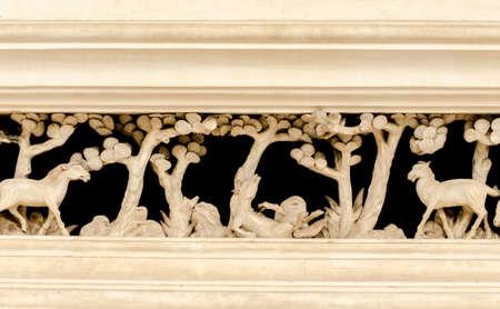 crafting: Caballos pared artesan�a en el templo Foto de archivo