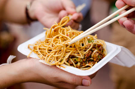 Fried noodles with tofu Stock Photo