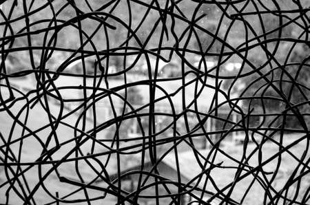 barbed wire frame: wire fence background and texture