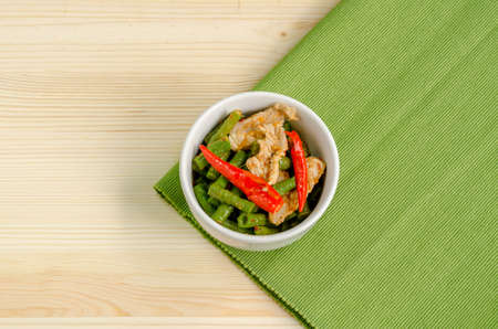 long bean: Spicy stir fried pork with red curry paste and Yard Long bean, Thai food menu