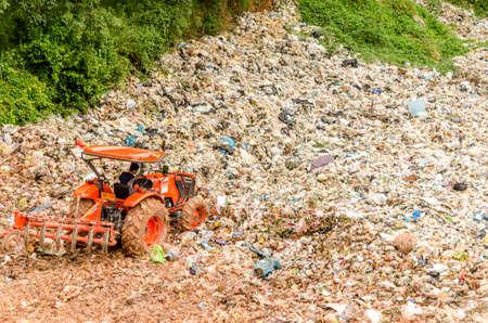 landfill site: PHATTHALUNG, THAILAND - AUGUST 3: Municipal waste disposal by open dump procese.  Dump site at  Phatthalung on AUGUST 3, 2015 in PHATTHALUNG PROVINCE THAILAND