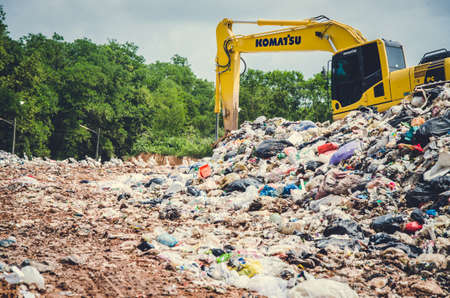 landfill site: SONGKHLA, THAILAND - AUGUST 4: Municipal waste disposal by open dump procese.  Dump site at Hatyai Songkhla on AUGUST 4, 2015 in SONGKHLA PROVINCE THAILAND