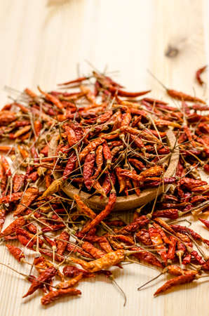 mellowness: Dried chili peppers background.  Thai food seasoning.