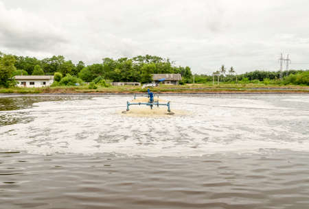 settler: surface aerators in waste water pond at landfill site use for make the waste water to clean water