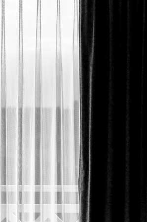 copyspace: black and white curtain with a copy-space Stock Photo