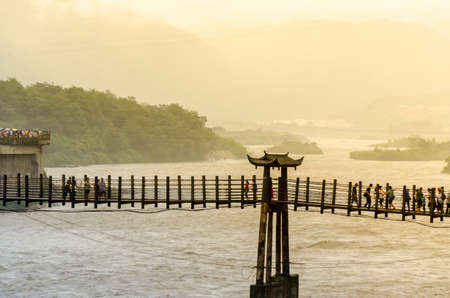 rickety: Abstract blur Dujiangyan Irrigation Project of China Stock Photo