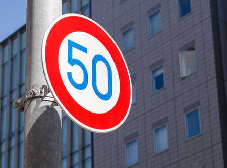 The traffic sign: speed limit 50