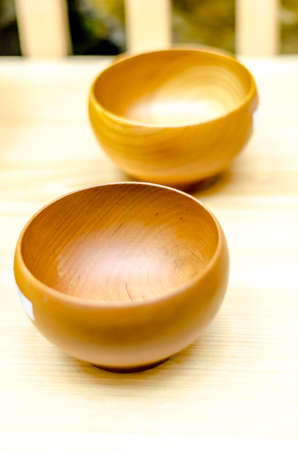 foe: Wooden bowls foe food and soup Stock Photo