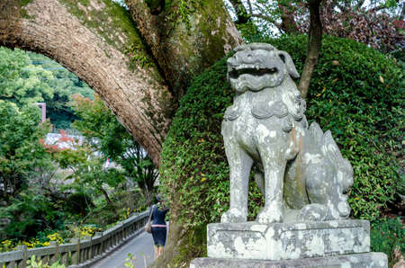 ancient japanese: Old lion statue made from stone in ancient Japanese temple: Fukuoka Prefecture