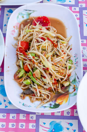 somtum: papaya salad or what we called Somtum in Thai Stock Photo