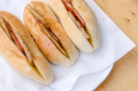soft sell: Baguette bread with meat filling, street food in Vietnam and Thailand Stock Photo