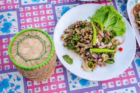 isaan: thai food spicy minced beef salad Stock Photo