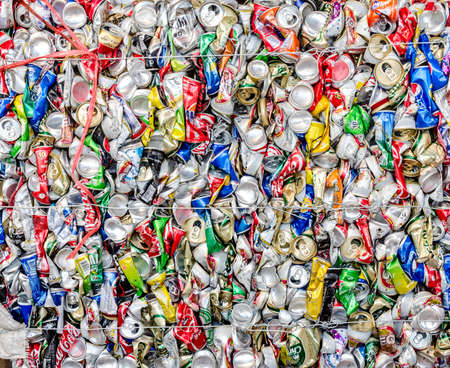 crushed aluminum cans: KARASIN PROVINCE, THAILAND-MARCH 2: Compressed Aluminum cans waste from household.  Recycle center at Karasin Province on MARCH 2 , 2016 in KARASIN PROVINCE THAILAND Editorial
