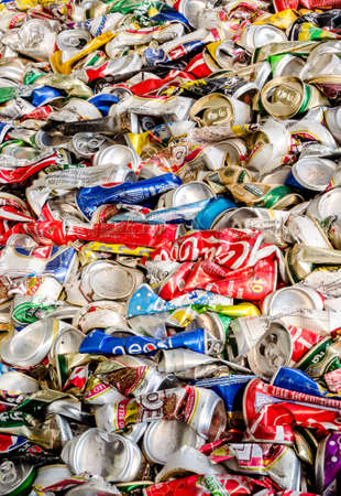 crushed cans: KARASIN PROVINCE, THAILAND-MARCH 2: Compressed Aluminum cans waste from household.  Recycle center at Karasin Province on MARCH 2 , 2016 in KARASIN PROVINCE THAILAND Editorial