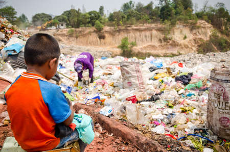 landfill site: Child in illegal landfill site in Thailand