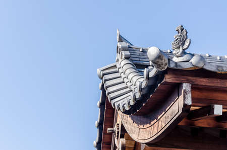 rooftop: Old rooftop in Japanese style, rooftop in Fukuoka prefecture