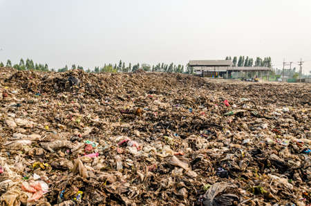 landfill site: KANCHANABURI PROVINCE, THAILAND-MARCH 17: Household waste in open dump site.  Illegal landfill site  at Kanchanaburi Province on MARCH 17 , 2016 in KANCHANABURI  PROVINCE THAILAND