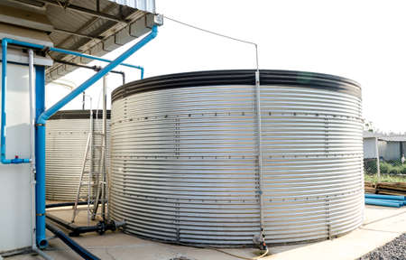 Industrial Storage Water Tank For Waste Water Treatment Plant Stock Photo    61080414