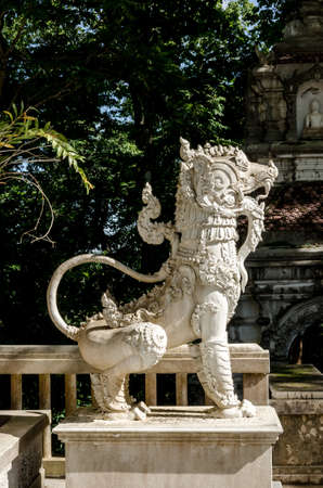 stupa one: Lion statue in Thai temple, Thailand