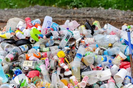 SAKAEO PROVINCE, THAILAND-JULY 14: Plastic and aluminium waste disposal open dump process.  Dump site at Sakaeo Province on JULY 14 , 2016 in SAKAEOI PROVINCE THAILAND
