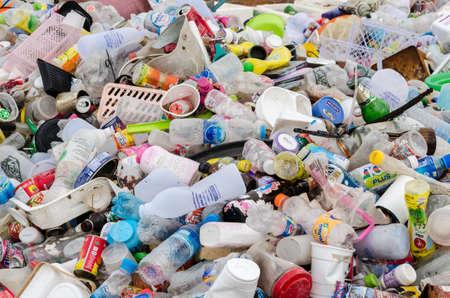TRAT PROVINCE, THAILAND-JULY 14: Plastic and aluminium waste disposal open dump process.  Dump site at Trat Province on JULY 14 , 2016 in TRATI PROVINCE THAILAND