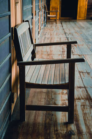 cinematic: Old wooden bench in the wooden house, cinematic tone filter