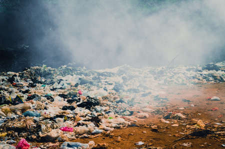 landfill: KANCHANABURI PROVINCE, THAILAND-MARCH 15 2016, Plastic and organic waste from household in waste landfill. Editorial