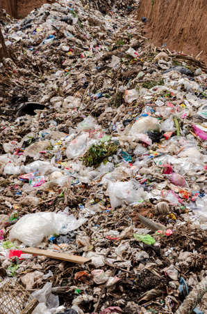 landfill: CHIANGRAI PROVINCE, THAILAND-JUNE 29 2016, Plastic and organic waste from household in waste landfill. Editorial